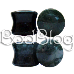 Moss Agate Double Flared Plugs 12mm