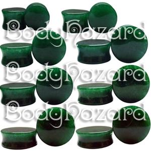 Dark Green Jade Double Flared Plugs