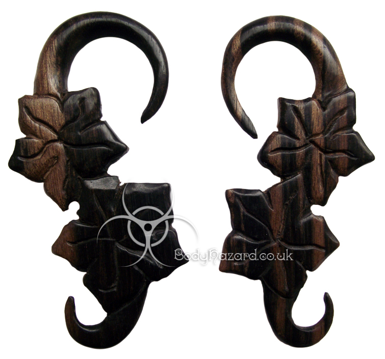 Ebony Wood Flower Hooks