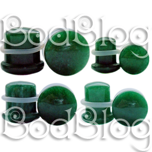 Dark Green Jade Single Flared Plugs