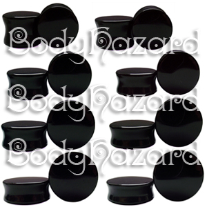 Black Obsidian Double Flared Plugs