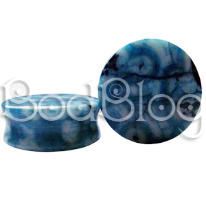 Blue Crazy Lace Agate Double Flared Plugs