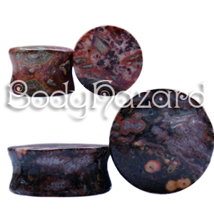 Leopard Skin Jasper Double Flared Plugs