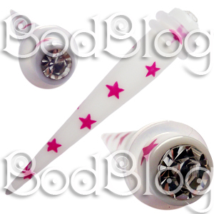 White Tapers with Pink Stars & Gems