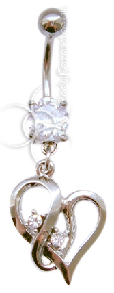 Clear Jewelled Heart Dangle Belly Bar