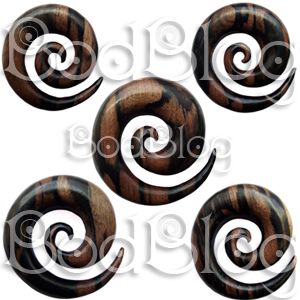 Huge Ebony Wood Spirals