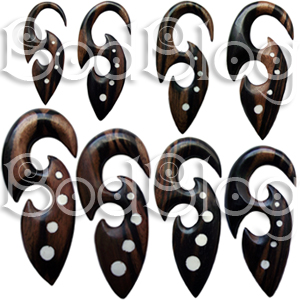 Ebony Wood Tribal Hook with White Bone Dots