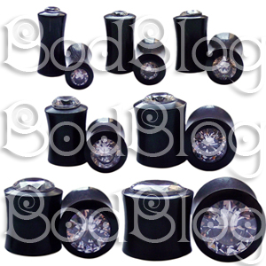 Buffalo Horn Double Flared Plugs with Clear CZ Inlay
