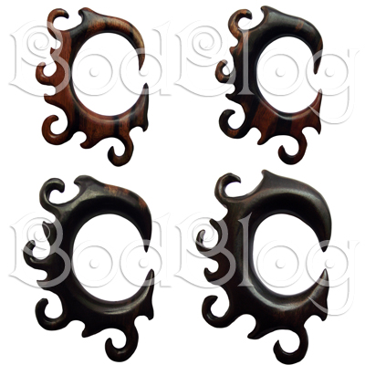 Ebony Wood Hooks with Curls